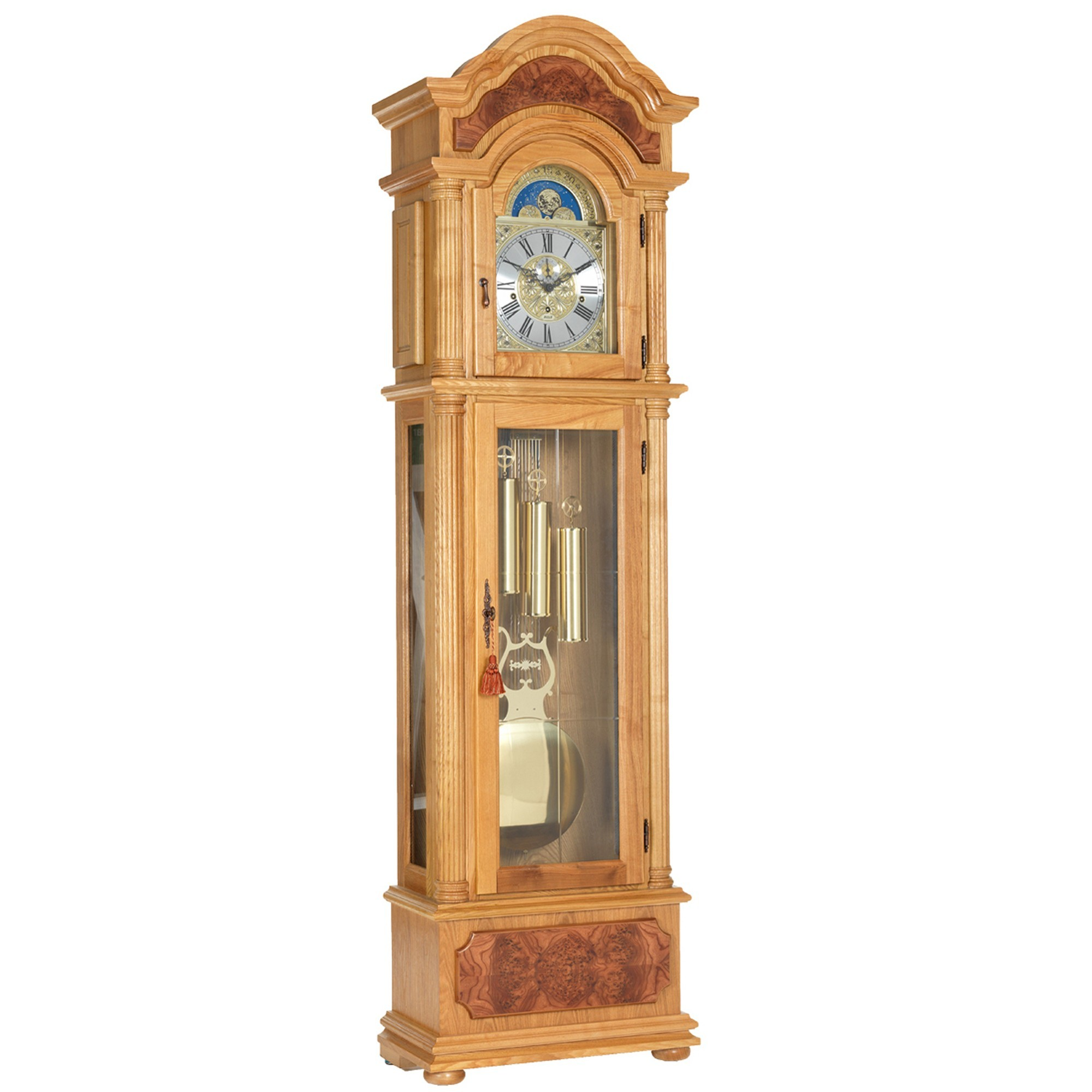 light oak triple chime grandfather clock grandfather clocks cookes furniture. Black Bedroom Furniture Sets. Home Design Ideas