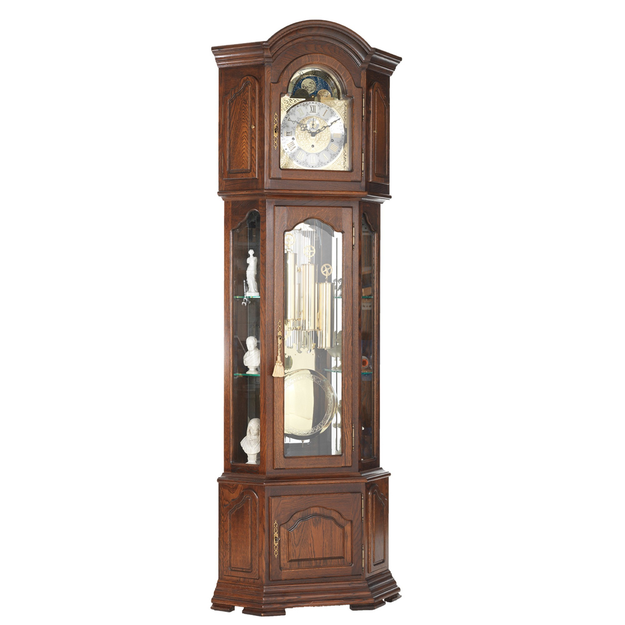 Lausanne Mid Oak Grandfather Corner Clock Grandfather