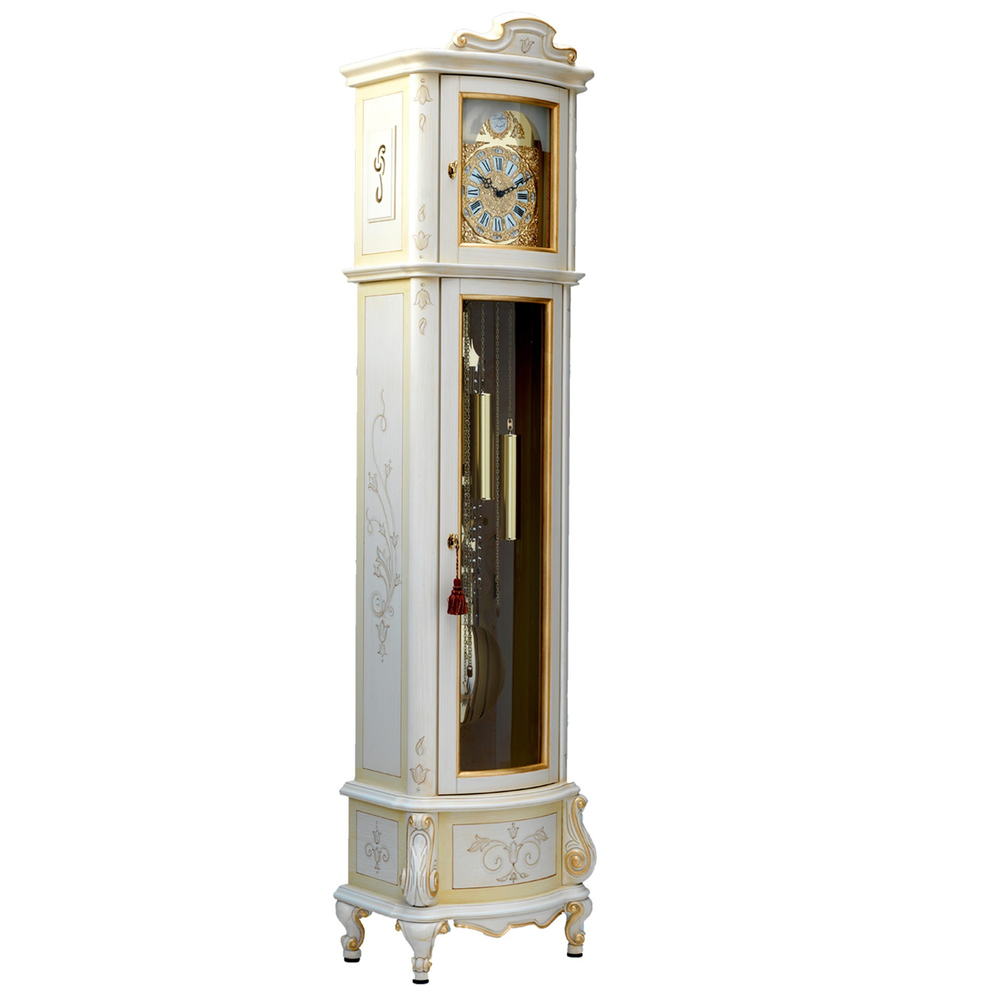 cream hand painted grandfather clock - grandfather clocks