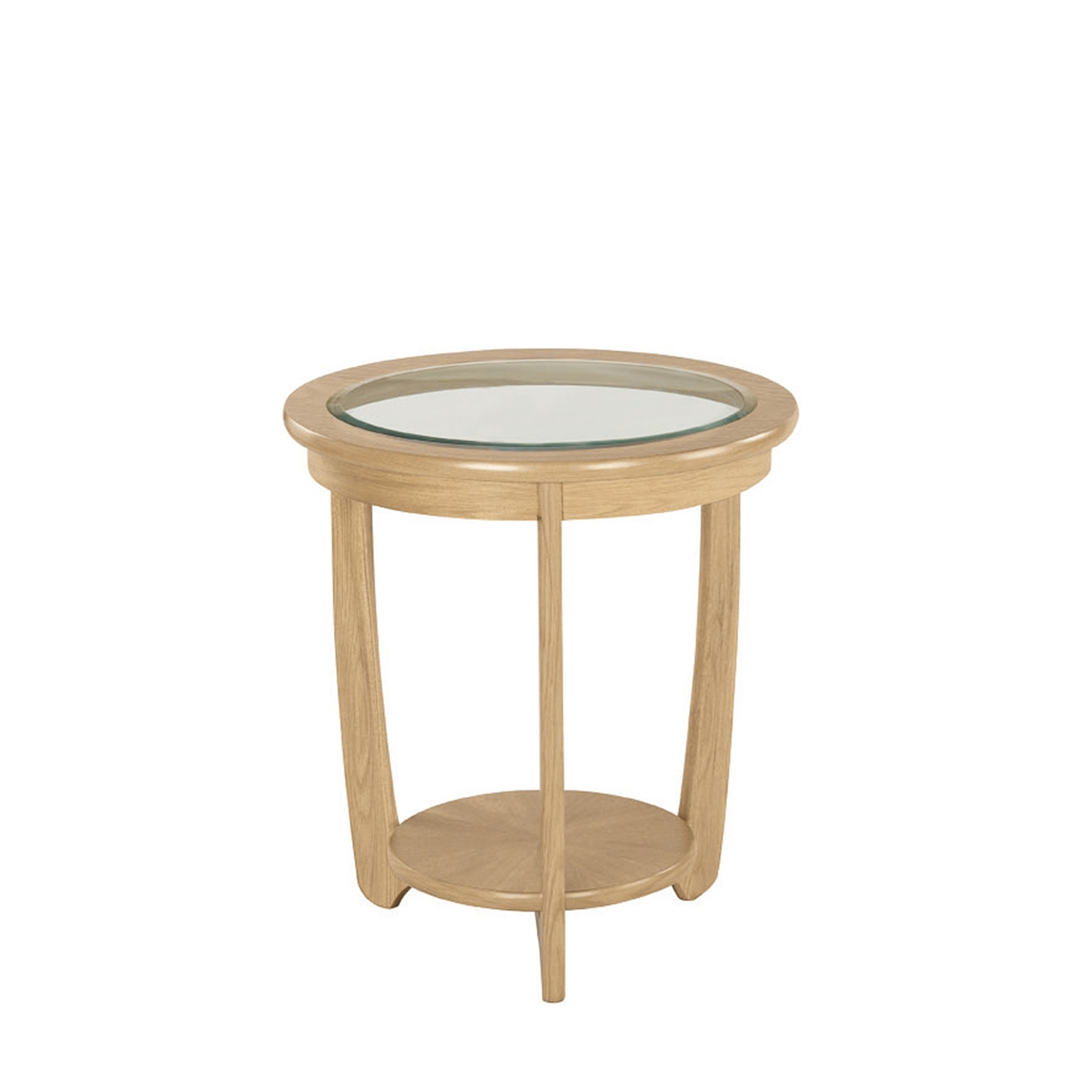 Shades Oak Nathan Shades Oak Glass Top Round Lamp Table Side Tables