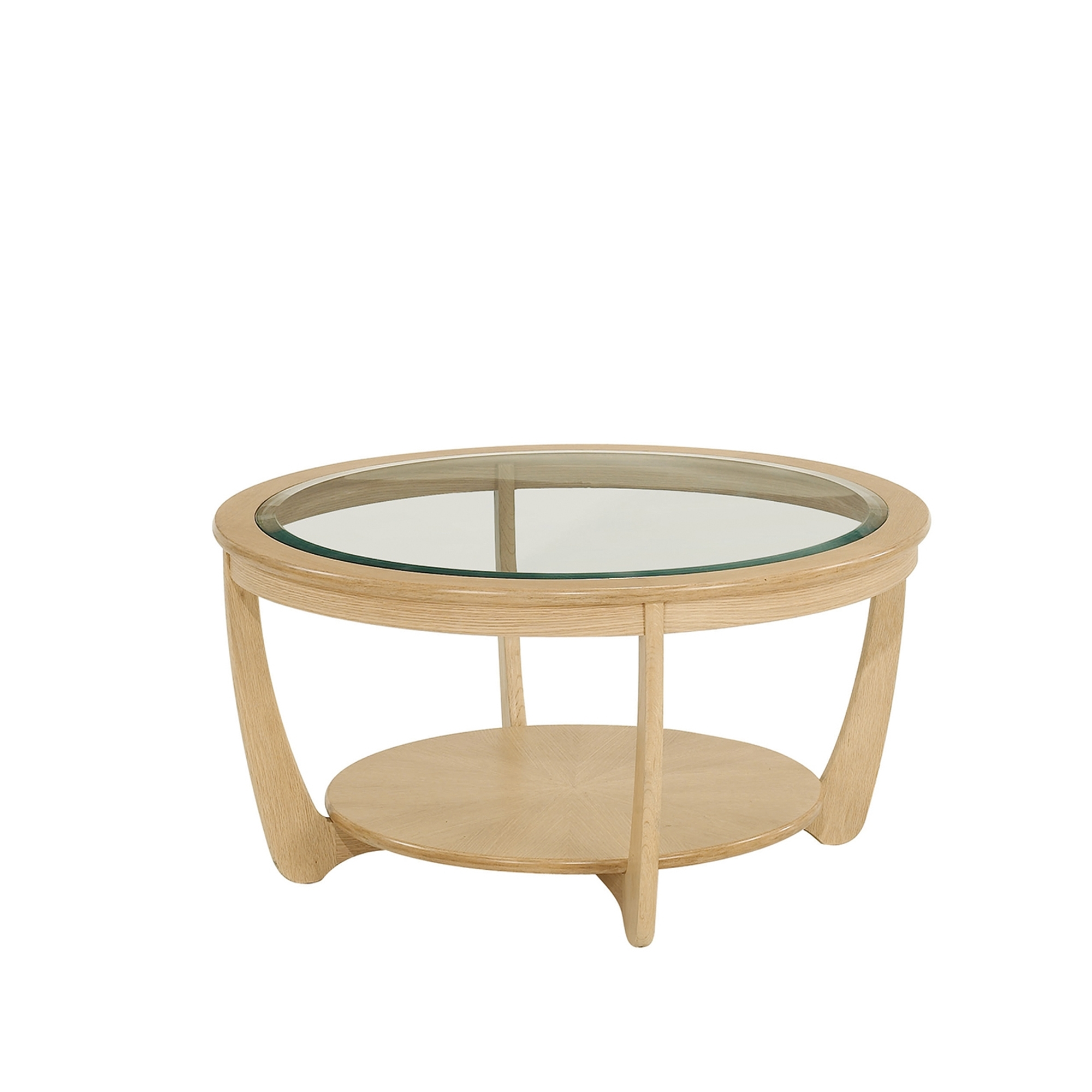 Nathan shades oak glass top round coffee table coffee for Round glass coffee table top
