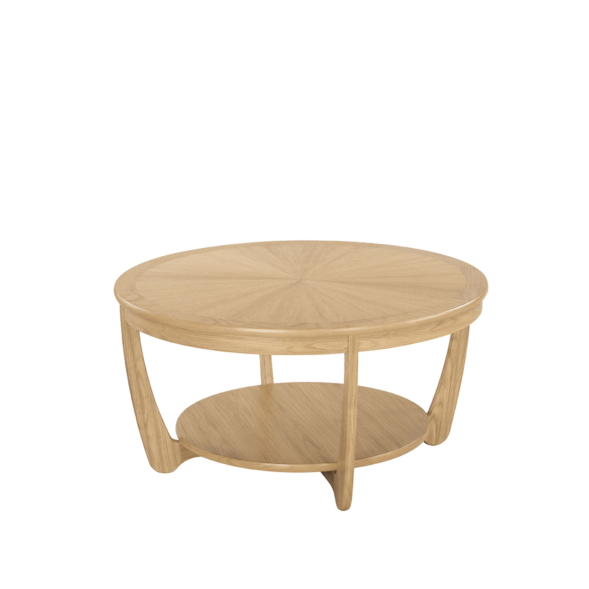 - SHADES OAK Nathan Shades Oak Sunburst Round Coffee Table - Coffee Tables