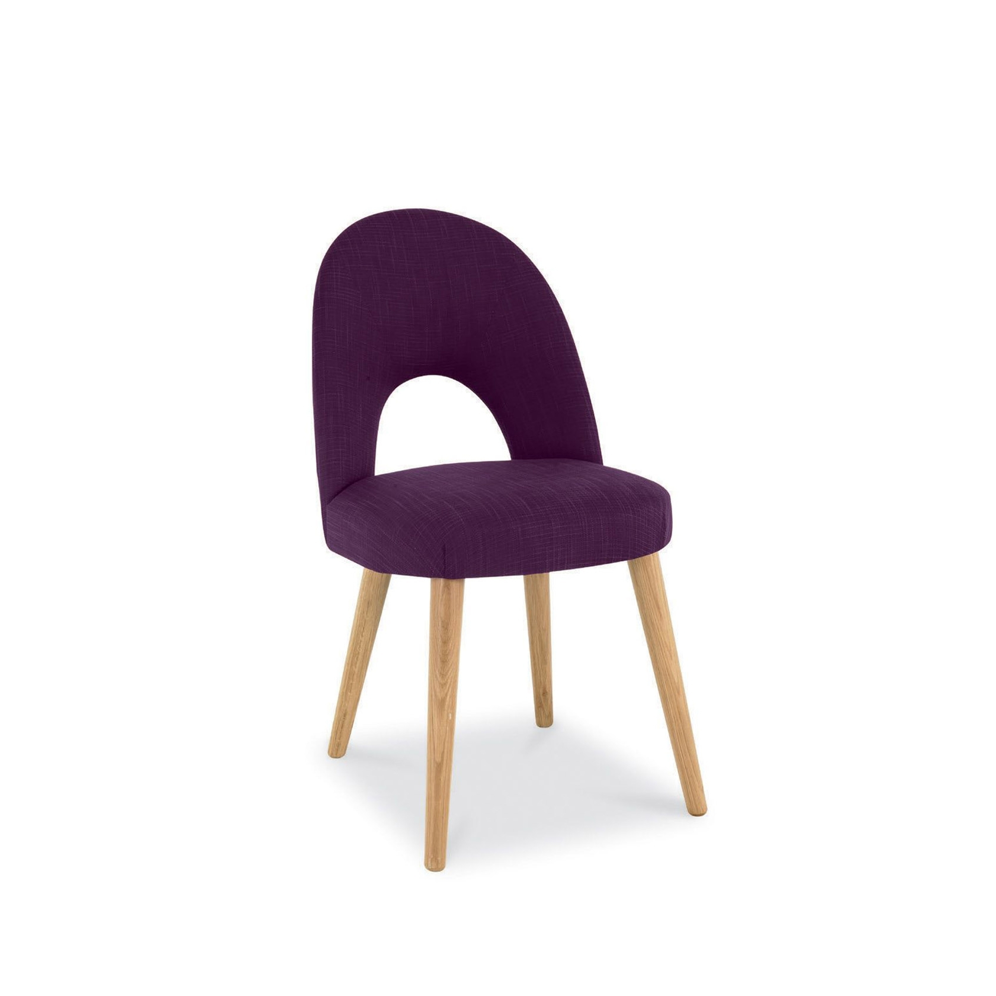 Cookes Collection Norway Oak Upholstered Chair In Plum Fabric