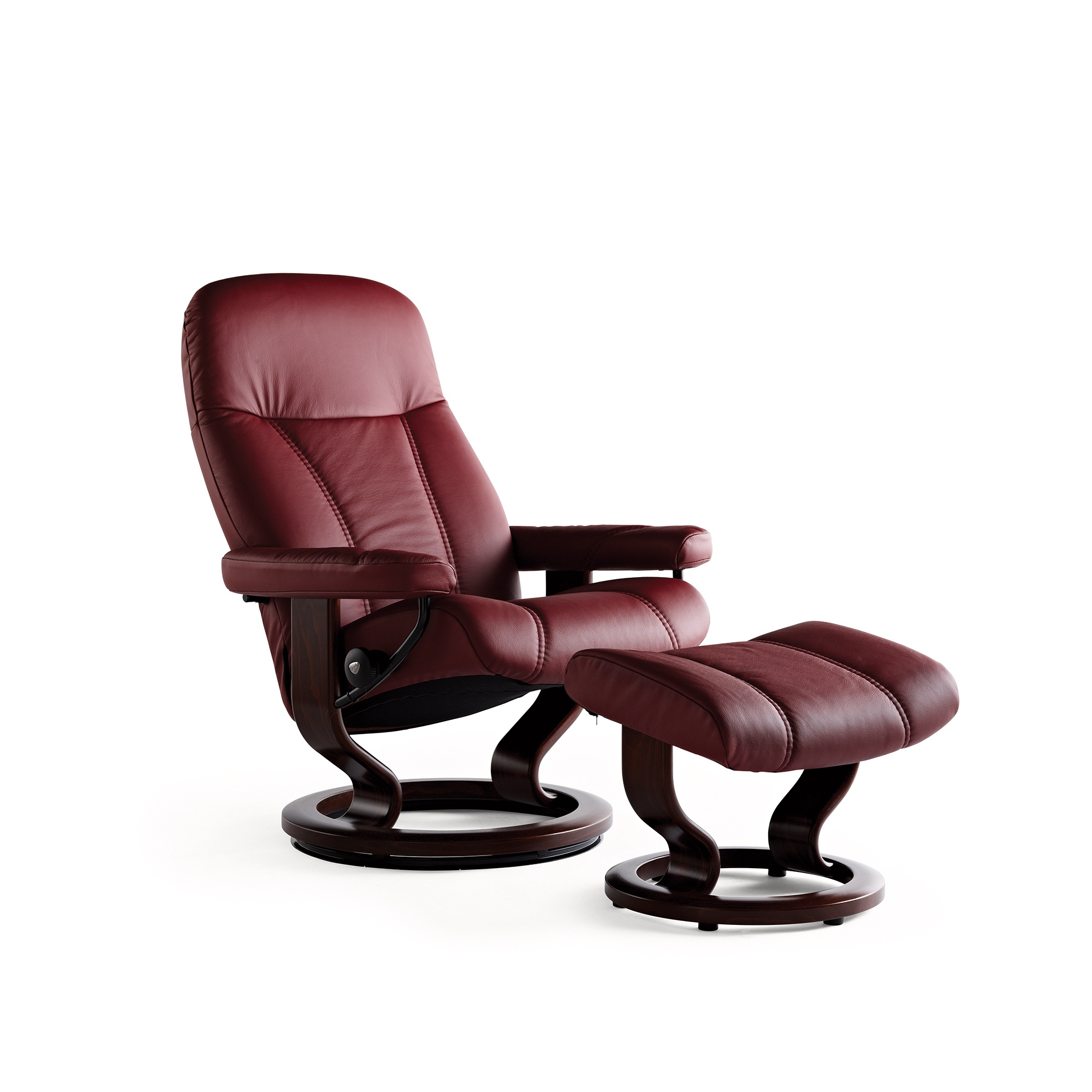 stressless consul small chair and stool in batick leather