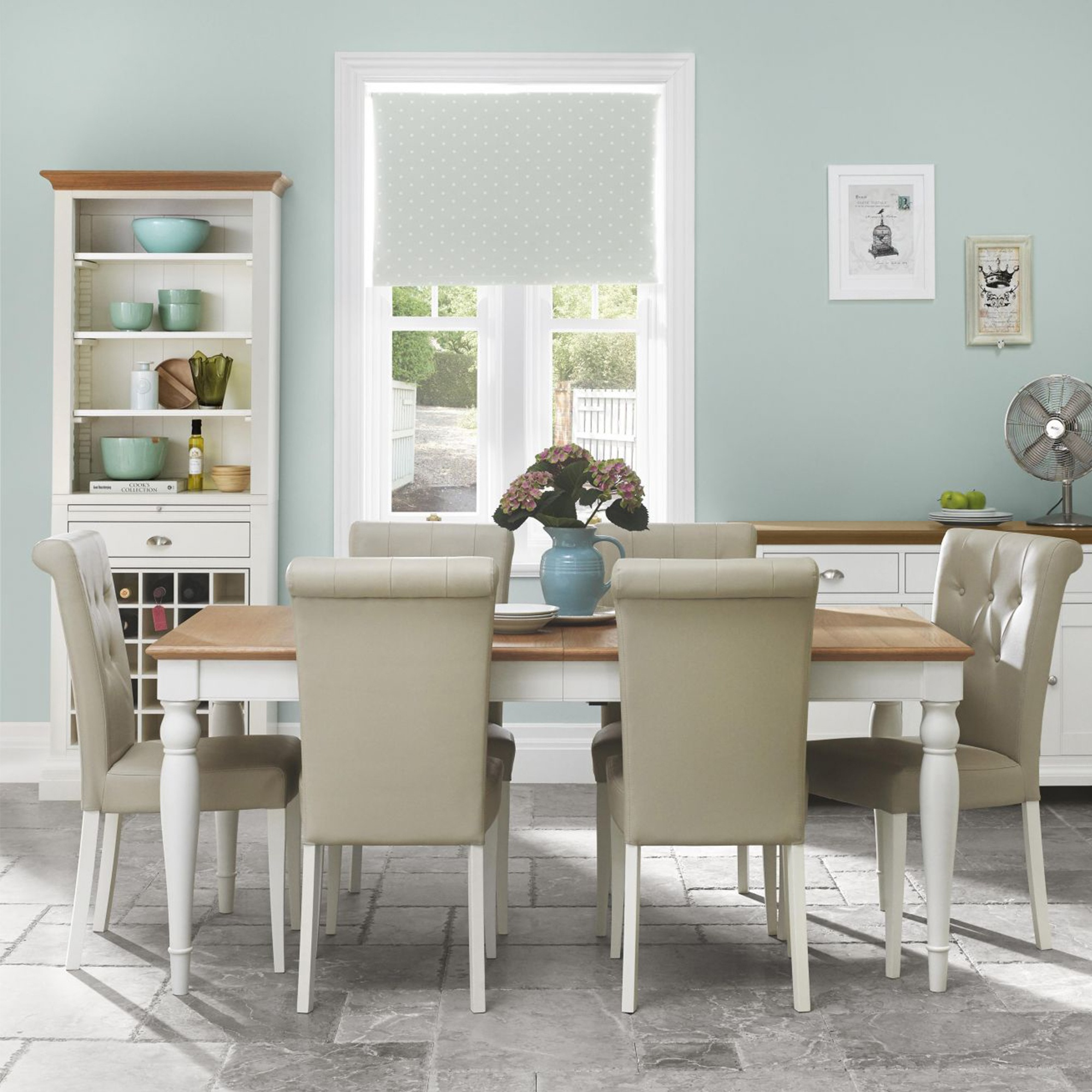 Cookes Collection Camden Two Tone 6-8 Dining Table And 6 Back Chairs ...
