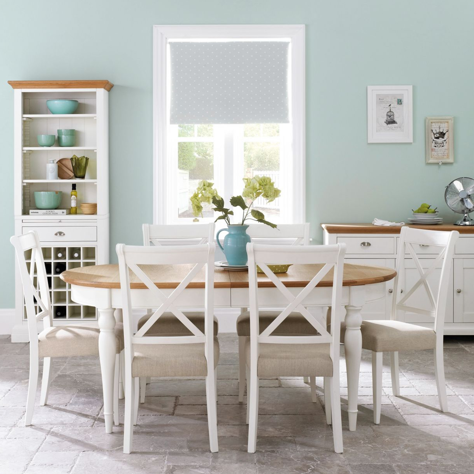 Cookes Collection Camden 2 Tone 6 8 Oval Dining Table and 6 Chairs