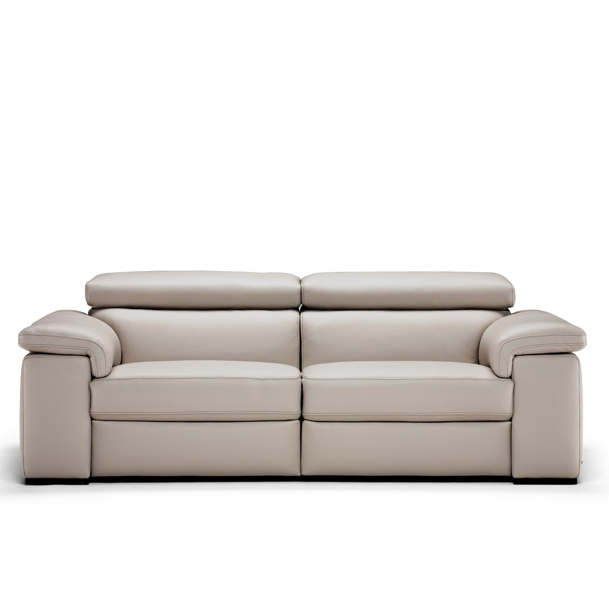 Natuzzi editions moretta large silver grey leather power for Natuzzi leather sofa