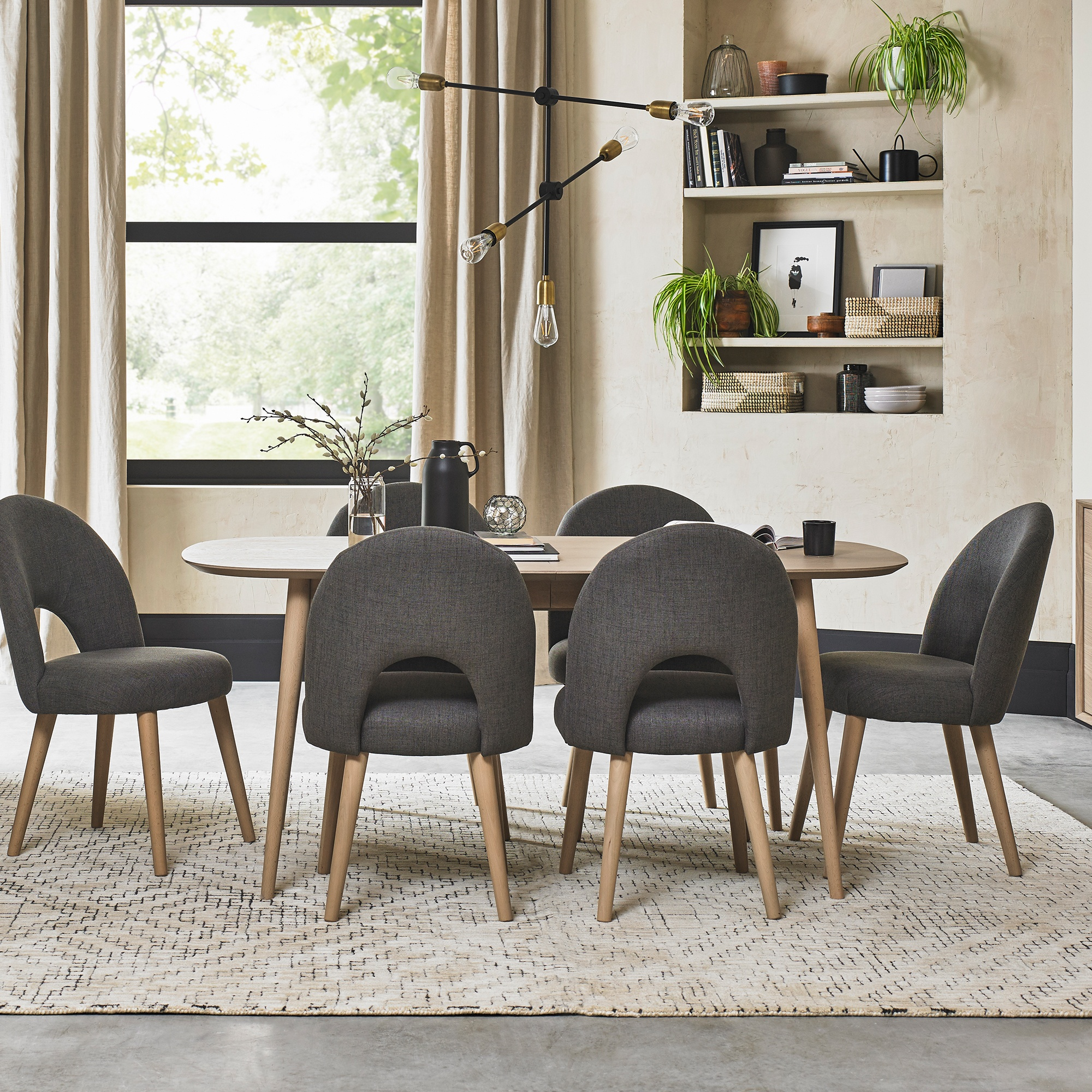 Cookes Collection Fino Scandi Oak Dining Table And 6 Chairs Dining Furniture