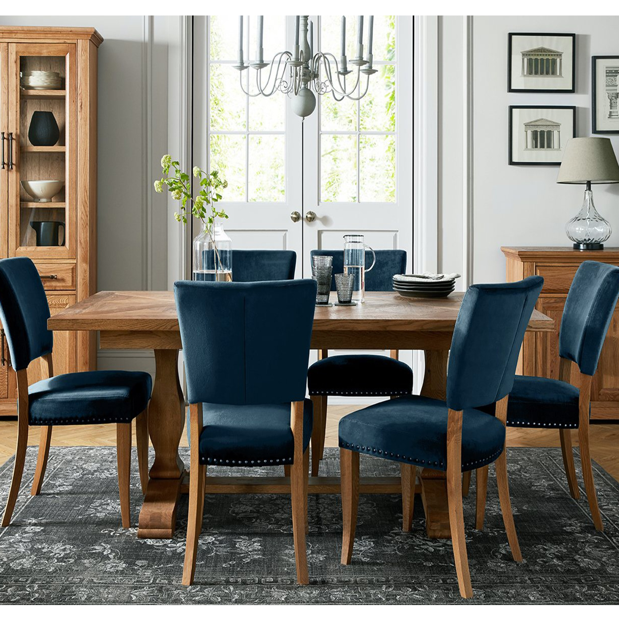 Cookes Collection Nantes Oak Dining Table And 6 Blue Velvet Chairs Dining Furniture