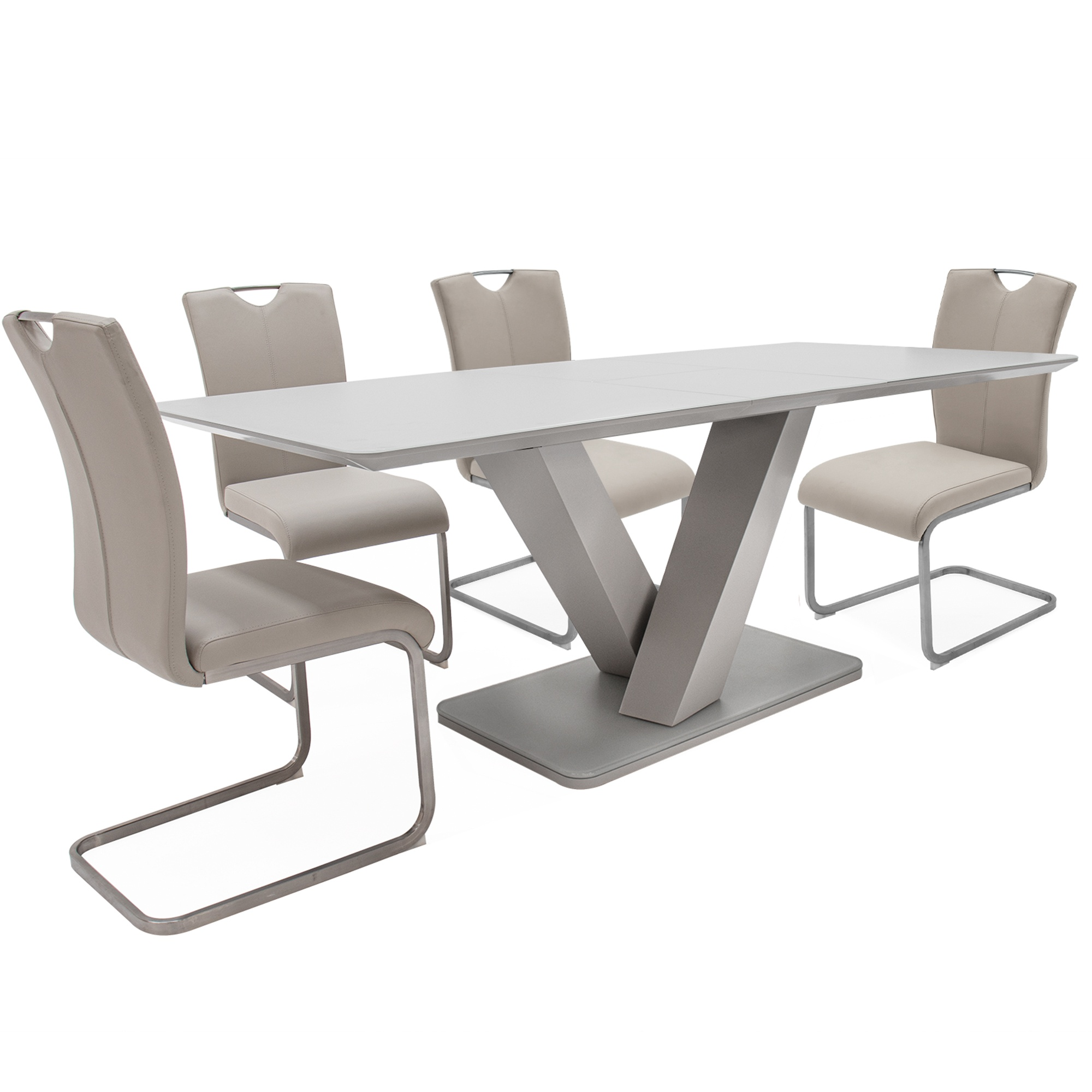 Cookes Collection Ralph Large Extending Dining Table 4 Taupe Chairs Dining Furniture Cookes Furniture