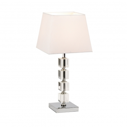 Chrome & Acrylic Table Lamp & White Shade