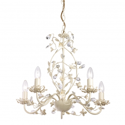Cream & Gold 5 Light Pendant