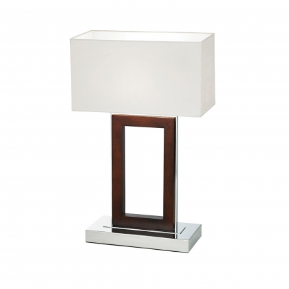 Dark Wood Mirrored Table Lamp
