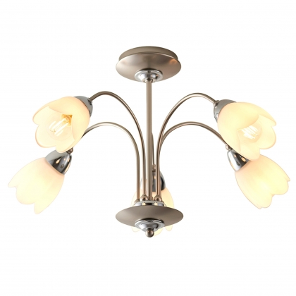 Satin Chrome 5 Light Semi Flush