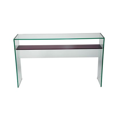 Glass Console with Lower Shelf  In Colour