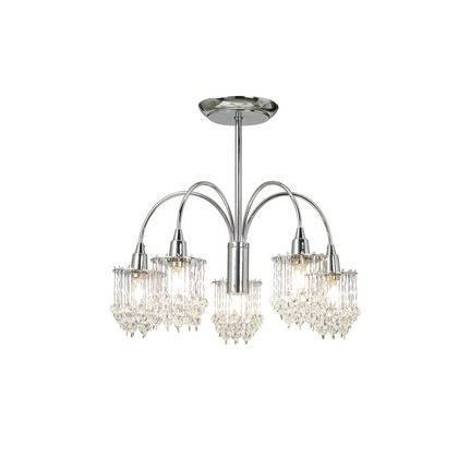 Chrome & Crystal 5 Light Fitting