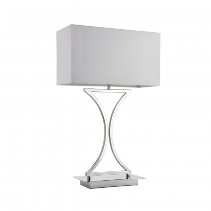 Chrome Table Lamp w/ White Shade