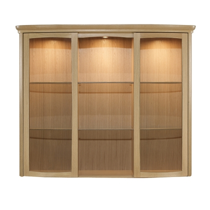 Nathan Shades Oak Wide Shaped Glass Door Display Unit