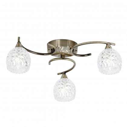 Antique Brass 3 Light Semi Flush