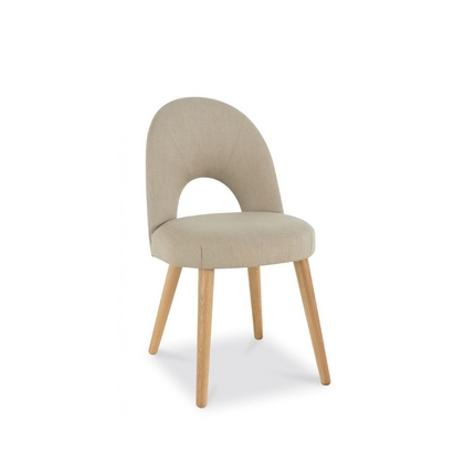 Cookes Collection Norway Oak Upholstered Chair In Stone Fabric