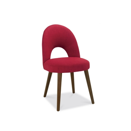 Cookes Collection Norway Walnut Upholstered Dining Chair In Red Fabric
