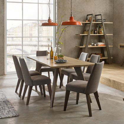 Cookes Collection Central Dining Table And 6 Upholstered Dining Chairs