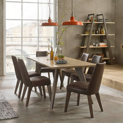 Cookes Collection Central Dining Table And 6 Leather Dining Chairs