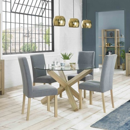 Cookes Collection Trinity Aged Oak Circular Glass Table And 4 Square Back Chairs