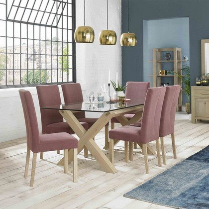 Cookes Collection Trinity Glass Top Dining Table & 6 Fabric Chairs