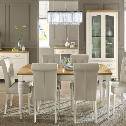 Cookes Collection Geneva Oak and Antique White Dining Table And 6 Chairs