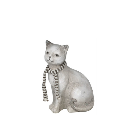 White And Silver Glitter Cat With Scarf Decoration