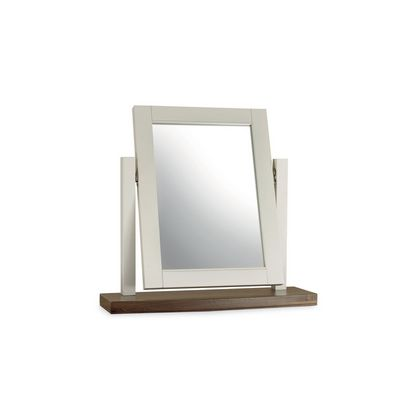 Cookes Collection Camden Soft Grey and Walnut Vanity Mirror