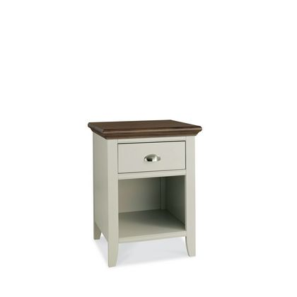 Cookes Collection Camden Soft Grey and Walnut 1 Drawer Nightstand