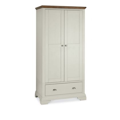 Cookes Collection Camden Soft Grey and Walnut Double Wardrobe
