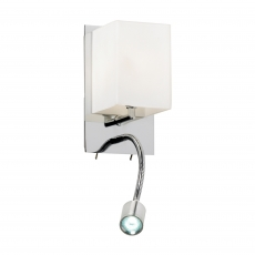 Chrome Wall Bracket with Opal Shade