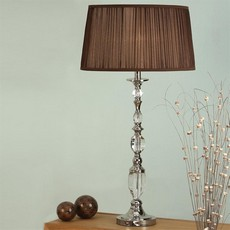 Large Nickel Lamp with Chocolate Shade