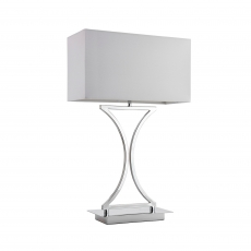 Chrome Table Lamp With White Shade