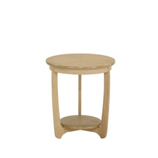 Nathan Shades Oak Sunburst Round Lamp Table