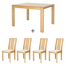 Ercol Bosco Small Extending Table and 4 Slatted Back Chairs