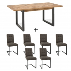 Cookes Collection Iris Extending Dining Table & 6 Cantilever Chairs