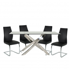 Anguilla Dining Table and 4 Black Chairs