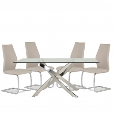 Anguilla Dining Table and 4 Taupe Chairs