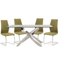 Anguilla Dining Table and 4 Olive Chairs