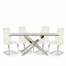 Anguilla Dining Table and 4 White Chairs
