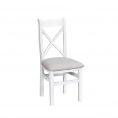 Cookes Collection Thames White Cross Back Fabric Chair