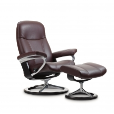 Stressless Consul Medium Chair & Stool Signature Base