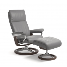 Stressless Aura Large Chair & Stool Signature Base