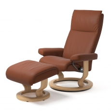 Stressless Aura Large Chair & Stool Classic Base