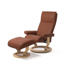 Stressless Aura Medium Chair & Stool Classic Base