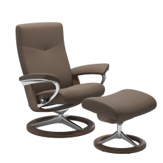 Stressless Dover Medium Chair & Stool Signature Base